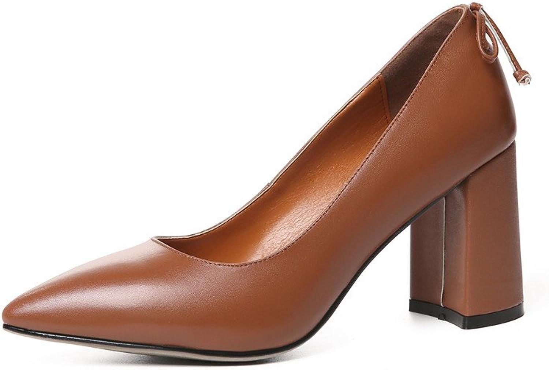 Nine Seven Genuine Leather Women's Pointed Toe Chunky Heel Elegant Handmade Business Classy Pump shoes