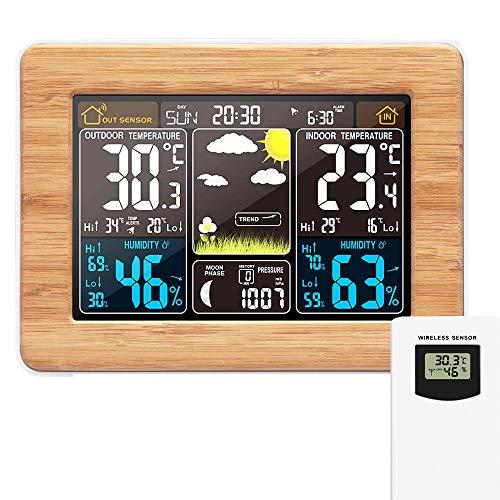 Station météo sans Fil Horloge de météo colorée numérique avec capteur extérieur Thermomètre extérieur...