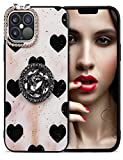Aulzaju iPhone 11 Phone Cases for Women Glitter iPhone 11 Case with Ring Stand Hard Hybrid Case for iPhone 11 Cute Love Design Gold Sparkle iPhone 11 Girly Case Diamond Butterfly Camera Protection
