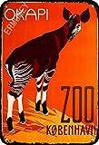 ERMUHEY The Funny Okapi Zoo Kopenhagen Dänemark Skandinavien Vintage Retro Poster Wanddekoration Haus Garten Büro Bar Club Mode Home Wall Decor Man Cave Blechschild 30 x 20 cm