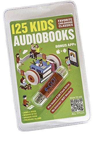 e-GO! Biblioteca 125 Audiobooks infantis e 75 eBooks, vermelho, 7 x 0,7 x 0,3 polegadas