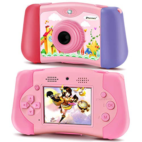PROGRACE Kinderkamera Handheld-Spielekonsole für Kleinkinder 4-12 Jahre alte Mädchen Spielzeug Geschenke Gadgets Digitalkamera für Kinder Support Download 4000+ NES-Spiele MP3-Player Videokamera 12M