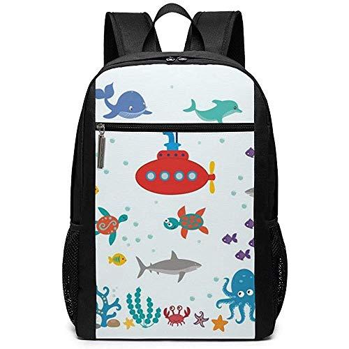 WlyFK Rugzak Ocean Octopus Walvis Haai Unisex Unieke Schoudertassen, Volwassene Student Dubbele Rits Sluiting Casual School Tas
