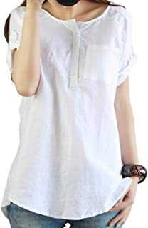 Dubocu Women's Summer Casual Short Sleeve Loose T Shirt Cotton Linen Blouse Tops
