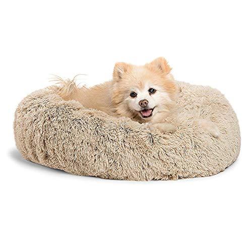 GTYHJUIK huisdierbed van pluche, ronde slaapzak, met orthopedisch kussen, antislip onderkant, voor kleine, middelgrote en grote honden en katten