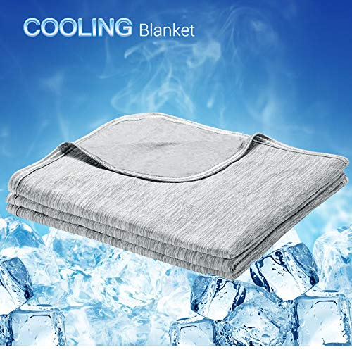 LUXEAR Cooling Blanket, Revolutionary Cool-to-Touch Technology Q-MAX0.4 Summer blanket, 51 X 67 in Double Side Design Cool Blanket, Breathable Comfortable Bed Blanket for Adults, Children, Baby- Gray