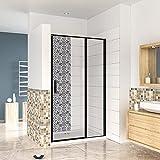 Mampara de ducha abatible,80x185cm,frontal 2 hojas con antical,perfilería negra,estilo industrial,Cristal templado de 6 mm