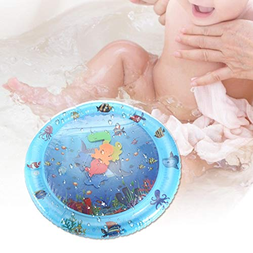 Emoshayoga Prone Pat Cushion Tapete de Agua Redondo Fácil de Lavar Tapete de Vida Marina Cojín de Agua Almohadilla de Hielo Inflable para bebés para Piscinas para Exteriores