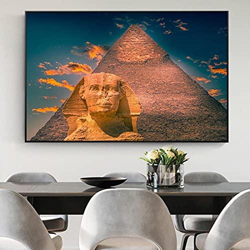 Cartel de la pirámide egipcia esfinge lienzo arte de la pared decoración de alta definición sala de estar famoso paisaje pintura 30x40cmx1 marco interior