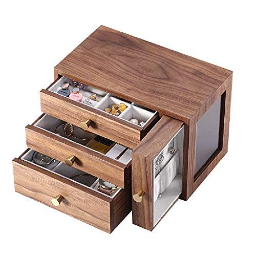 N\C Joyero de madera maciza con cajón, pulseras, relojes, collares, pendientes y accesorios (4 capas)