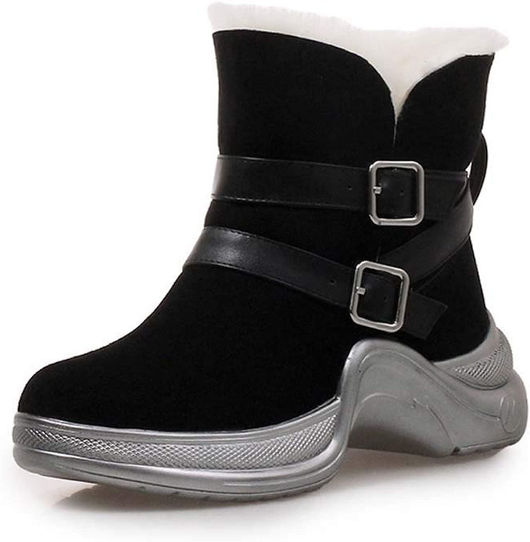 Women Suede Snow Boots 2018 Autumn Belt Buckle Sneakers Black