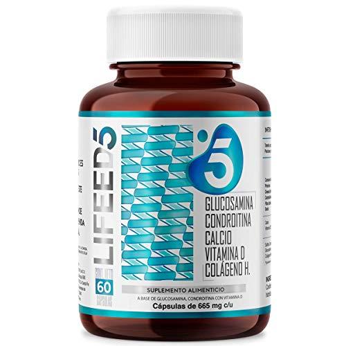 LIFEED Condroitina, Glucosamina, Colágeno Hidrolizado, Calcio, Vitamina D3 | LF5 para 60 Dias |LIFEED5 Joints para Articulaciones y Huesos con Ingredientes Naturales