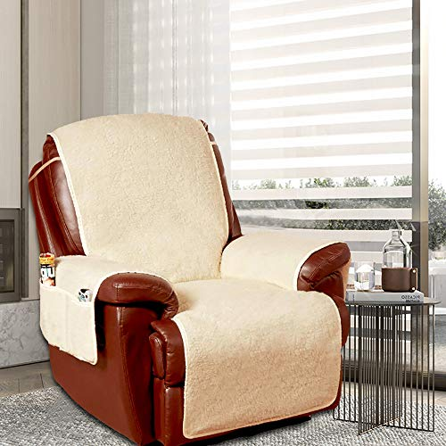 Stronghigheu Fleece Armchair Sofa Cover Mat, Protective Fleece Recliner Cushion, Furniture Protector with Storage Pockets & Strap