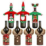7 Pieces Christmas Wine Bottle Cover Bottle Sweater Cover Decorative Coat Bottle Cover for Xmas Party Decorations, 5 Styles