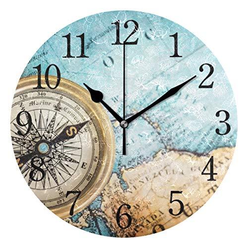 BKEOY Vintage Wanduhren mit Maleroberfläche, Vintage, Kompass, Karten-Uhr, geräuschlos, Nicht tickend, Heimdekoration