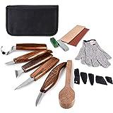 Ensemble d'outils de sculpture sur bois, 18 pièces, couteau à crochet, couteau à bois en détail, couteau à tailler, couteau oblique, couteau à couper pour cuillère, bol, tasse, kit pour debutants