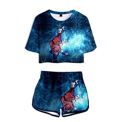Dragon Ball Set T-Shirts und Hosen Shorts 3D Digitaldruck Sommer Japanische Anime Crop Tops Anzug Frauen Bauchfrei Oberteile Sport Hemd Kurze Hose Set für Damen Super Saiyan Son Goku Son Gohan