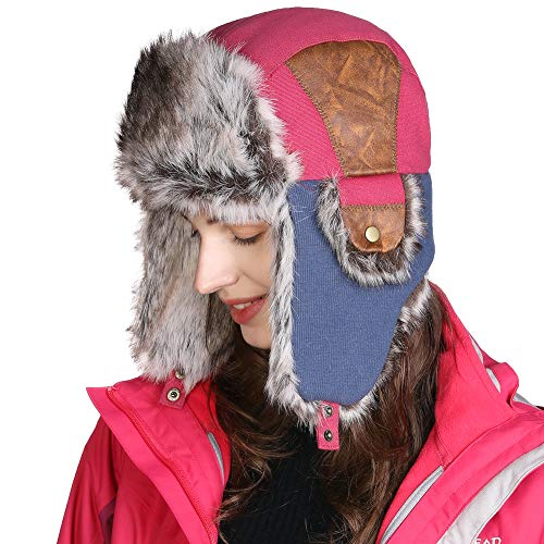 Jeff & Aimy Winter Hats for Women Faux Fur Earflap Hunting Shooting Hat Ladies Warm Ushanka Russian Trooper Trapper Bomber Outdoor Ski Fashion Pink 58-60CM