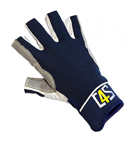 crazy4sailing Damen Herren Segelhandschuhe Racing - 5 Finger-frei, Farbe:Navyblau, Größe:S