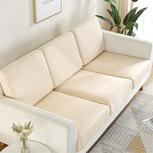 Fundas de cojín de asiento de sofá, fundas de cojín de reemplazo, fundas de cojín flexibles elásticas para cojines individuales (tamaño grande, 1 plaza), color beige