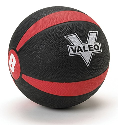 Valeo 8 lb Medicine Ball With Sturdy Rubber Construction And Textured Finish, Weight Ball Includes Exercise Wall Chart For Strength Training, Plyometric Training, Balance Training And Muscle Build