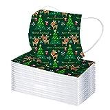 50/100 unidades de una sola capa, de tres capas, unisex, para adultos, hombres y mujeres, bandanas de Navidad desechables, para Navidad