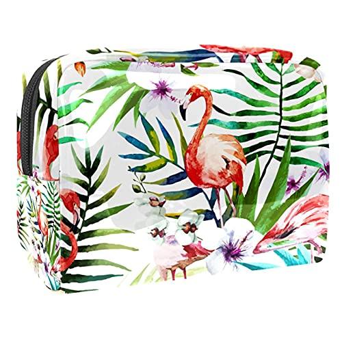 Bolso cosmético de PVC con diseño de flamencos de hojas blancas tropicales, bolsa de viaje cosmética con cremallera, organizador de maquillaje para niñas y mujeres
