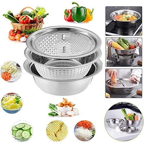 Stainless Steel Basin Grater Colander With Lids, Kitchen Salad Mixing Bowls with Strainers,Cheese Cutter Slicer Basket for Vegetables Fruit Rice Food Washing,Shredding Set for Cooking Prepping
