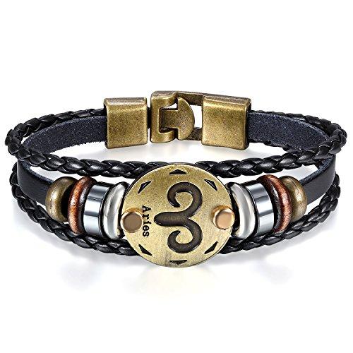 JewelryWe Schmuck Herren Damen Widder Armband, 12 Tierkreis Sternzeichen Horoskop Charms Druckknopf Armreif, Leder Legierung, schwarz
