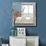 qmdecor Crystal Crush Diamond Square Silver Mirror for Wall Decoration 23.5x23.5x1 inch Wall Hang Frame Less Mirror Acrylic Diamond Décor