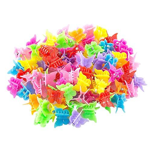 Gobesty Schmetterling Haarspange Klauen, 100 Stück Butterfly Hair Clips Claw Barrettes Mixed Color Mini Jaw Clip Haarschmuck Accessoires für Frauen und Mädchen