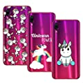 Young Ming (3 Pack) Funda Para Xiaomi Redmi Note 7/ Redmi Note 7 Pro, Transparente Ultrafina Carcasa Case Cover, Unicornio