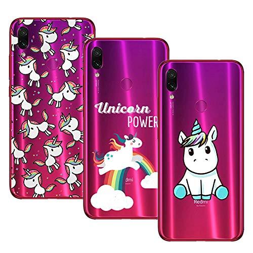Young Ming (3 Pack) Funda Para Xiaomi Redmi Note 7  Redmi Note 7 Pro, Transparente Ultrafina Carcasa Case Cover, Unicornio