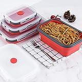 TKG 3pcs / Set Cuenco Caja Plegable Plegable de Juego de Comedor tazón de Silicona Plegable portátil bolo Bento Recipiente Plegable,Rojo,3 Piezas