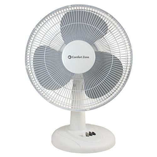 Comfort Zone CZ161WT Quiet 3-Speed 16-inch Oscillating Table Fan with Adjustable Tilt