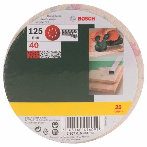 Bosch DIY Schleifblatt verschiedene Materialien für Exzenterschleifer (25 Stück, Ø 125 mm, Körnung 40)