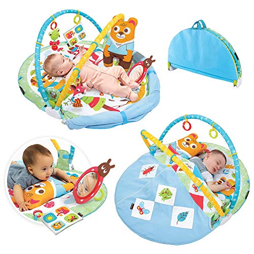 Yookidoo Play 'N' Nap Baby Activity Gym. Infant Play Mat with Foldable Blanket, Tummy Time Pillow & Newborns Sensory Toys. Machine Washable, from 0-12 Months