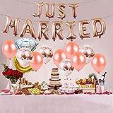 55 Stück Just Married Deko Rosegold Luftballons Set:Helium Buchstaben Folienballons Just Married Banner Girlande,Rose Gold Konfetti Latex Ballons für Bridal Shower Verlobungs Hochzeit Party Dekoration - 6