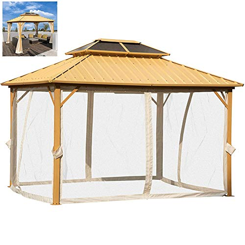 Pavilion with Side Walls, Outdoor Canopy Double Roof Garden Gazebo Party Tent for Outdoor Courtyard Garden Villa(3.65 X 2.99 X 2.84 M)
