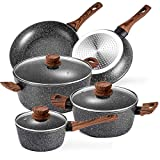 Prikoi Nonstick Cookware Set, Aluminum Kitchen Pots and Pans Set, Stovetop & Induction Safe, 8...