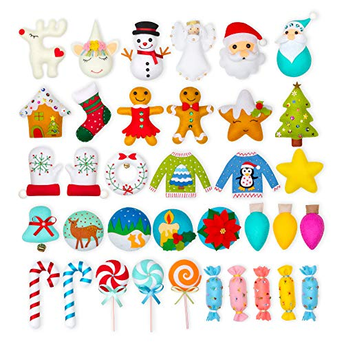 QKIYI Sewing Kit for Kids 36 Fun Projects Felt Christmas Tree Ornament Craft Kits for Teens Hoilday Guide Craft Kit for Kids