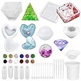 Daohexi - Set di 28 stampi in silicone con paillettes, stampi in silicone fai da te con quadrati, forma a diamante, rotondi, a forma di cuore, in silicone, per resina, fai da te
