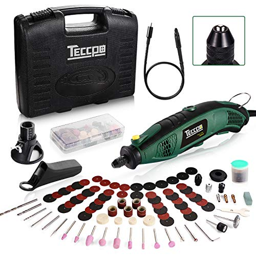 TECCPO Rotary Tool Kit 1.5 amp, 6 Variable Speed with Flex Shaft, Universal Keyless Chuck, 84 Accessories, Cutting Guide, Auxiliary Handle and Carrying Case, Multi-Functional for Crafting Projects