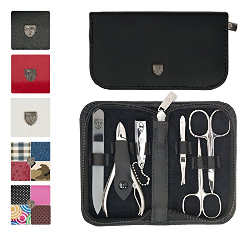 3 Swords Germany - brand quality 6 piece manicure pedicure grooming kit set for professional finger & toe nail care scissors clipper genuine leather case in gift box, Made in Solingen Germany (02259)