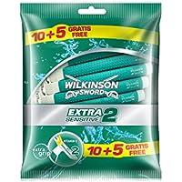 Wilkinson Sword Extra 2 Sensitive - máquinas desechables, 10 + 5 unidades