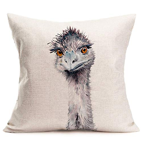 Fukeen Watercolor Painting Animal Throw Pillow Cases Cotton Linen Lifelike Ostrich Decorative Pillow Cover Cushion Square Home Sofa Decor 18 x 18 Inches Pillowcase