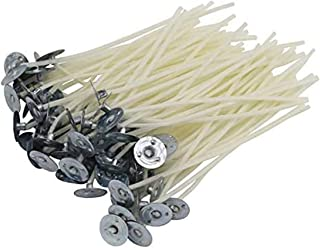 DELFINO 3.5 Inch Natural Candle Wicks with Tabs 100 Pcs 100% Natural Cotton Core Low Smoke Pre Waxed, Wick Centering Devic...