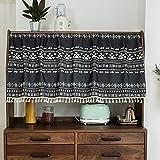 Michorinee Scheibengardine Boho Bistrogardine Geometrisches Muster Kurze Gardine Blickdicht Schwarz Vorhänge für Küche Badezimmer Kaffee Schrank B 68 × H 45 cm Baumwolle und Leinen mit Quaste