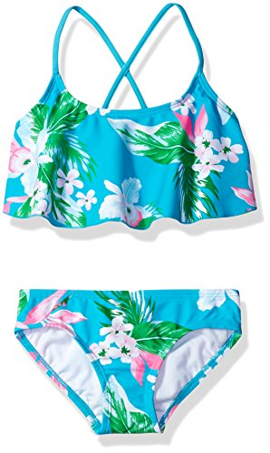 Kanu Surf Girls' Big Flounce Bikini Beach Sport 2 Piece Swimsuit, Alania Floral Aqua, 12