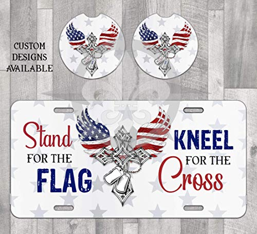 American Cross License Plate and Car coasters Stand for the Flag Kneel for the Cross United States Soldier Support our troops Angel Wings Stars and Stripes Military Car Accessories Vehicle Sign